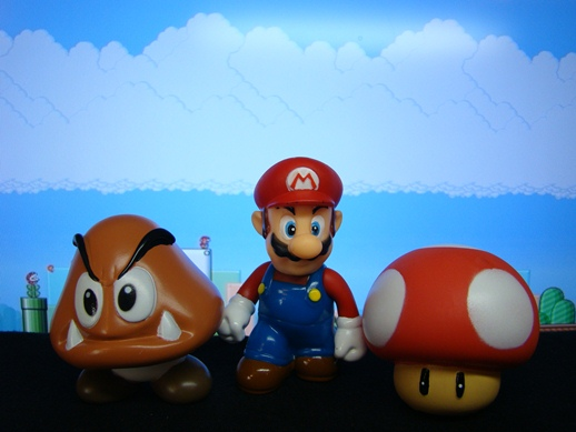 Super Mario Figure Collection – Mini Figures Set 1: Mario / Goomba / Red Mushroom  - Banpresto (2008)